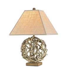 Table Lamp with Brown Grasscloth Shade in Natural Finish