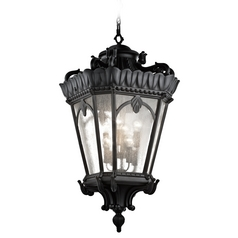 Kichler Black Outdoor Hanging Light with Clear Glass