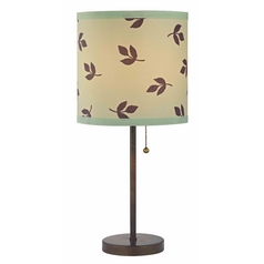 Design Classics Lighting Bronze Pull-Chain Table Lamp with Leaf Drum Shade 1900-604 SH9486