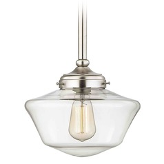 10-Inch Satin Nickel Clear Glass Schoolhouse Mini-Pendant Light