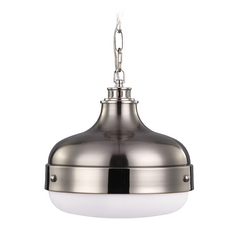 Mid-Century Modern Pendant Light Polished Nickel / Brushed Steel Cadence by Feiss Lighting