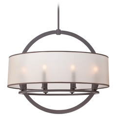 Quoizel Lighting Portland Western Bronze Pendant Light with Drum Shade