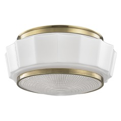 Odessa 2 Light Flushmount Light Drum Shade - Aged Brass