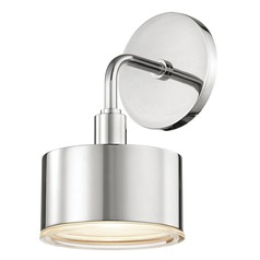 Mid-Century Modern LED Sconce Polished Nickel Mitzi Nora by Hudson Valley