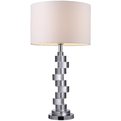 Modern Table Lamp with White Shade in Clear Crystal and Chrome Finish