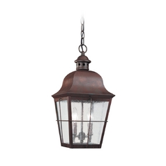 Outdoor Hanging Light with Clear Glass in Weathered Copper Finish