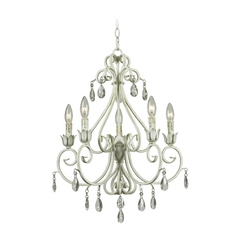 Crystal Chandelier in Weathered White Finish