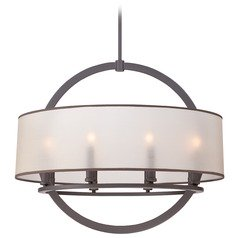 Quoizel Portland Western Bronze Pendant Light with Drum Shade