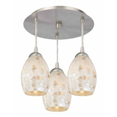 3-Light Semi-Flush Ceiling Light with Mosaic Glass - Nickel Finish