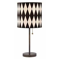 Bronze Pull-Chain Drum Table Lamp with Harlequin Patterned Shade