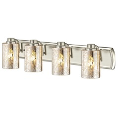 Industrial Mercury Glass 4-Light Bathroom Light in Satin Nickel