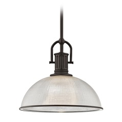 Farmhouse Industrial Prismatic Glass Pendant Light Bronze 13.13-Inch Wide