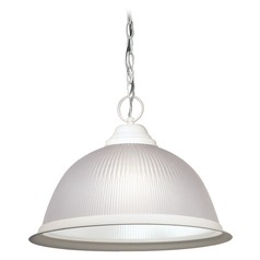 Prismatic Glass Pendant Light White Nuvo Lighting