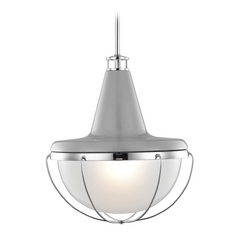 Feiss Lighting Livingston High Gloss Gray / Polished Nickel Pendant Light