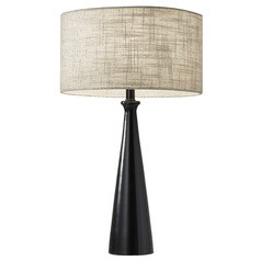 Adesso Home Linda Black Table Lamp with Drum Shade