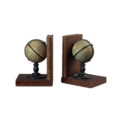 Sterling Lighting Vintage World Globe Bookends 93-9224
