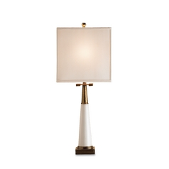 Table Lamp with White Shade in White/antique Brass Finish