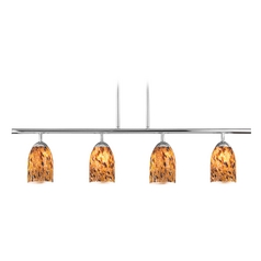 Modern Linear Pendant Light with 4-Lights and Art Glass in Chrome Finish