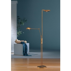 Holtkoetter Modern Torchiere Lamp in Antique Brass Finish