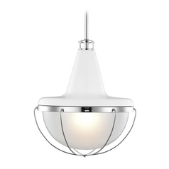 Feiss Lighting Livingston High Gloss White / Polished Nickel Pendant Light