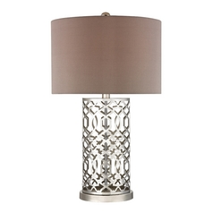 Modern Table Lamp with Taupe Shades in Polished Nickel Finish