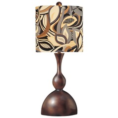 Minka Lavery Brown Table Lamp with Cylindrical Shade