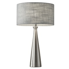Adesso Home Linda Brushed Steel Table Lamp with Drum Shade