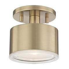 Mid-Century Modern LED Semi-Flushmount Light Brass Mitzi Nora by Hudson Valley