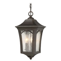 Seeded Glass Outdoor Hanging Light Oil Rubbed Bronze w/ Gold Minka Lavery