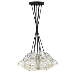 Earth Black 7-Light Multi-Light Pendant with Smoke Shade