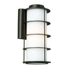 Modern Outdoor Wall Light with White Glass in Deep Bronze Finish