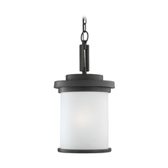 Modern Outdoor Hanging Light with Clear Glass in Forged Iron Finish