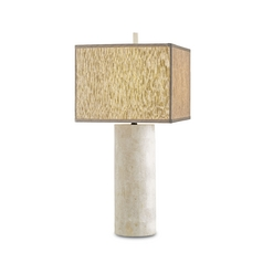 Modern Table Lamp with Beige / Cream Shade in Natural Finish