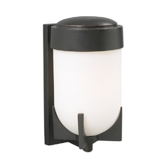 Modern Outdoor Wall Light with White Glass in Oil Rubbed Bronze Finish