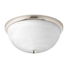 Progress Lighting Modern Flushmount Light with Alabaster Glass in Brushed Nickel Finish P3624-09WB