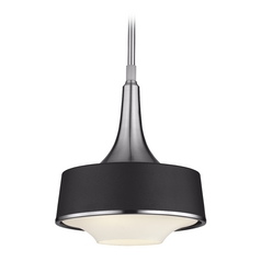 Feiss Lighting Holloway Brushed Steel / Textured Black Mini-Pendant Light