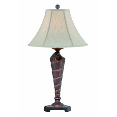 Lite Source Conch Dark Bronze Table Lamp with Bell Shade