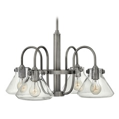 Hinkley Congress 4-Light Chandelier with Clear Conical Glass in Antique Nickel