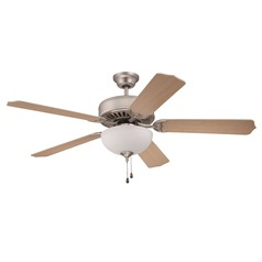 Craftmade Pro Builder 201 Brushed Satin Nickel Ceiling Fan with Light