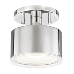Mid-Century Modern LED Semi-Flushmount Light Polished Nickel Mitzi Nora by Hudson Valley