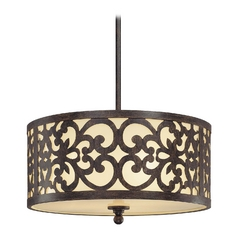 Drum Pendant Light with Beige / Cream Glass in Iron Oxide Finish