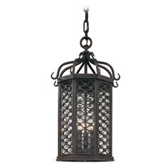 Troy Lighting Outdoor Hanging Light with Clear Glass in Old Iron Finish F2377OI