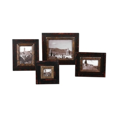 Distressed Black Decorative Photo Frames - Set of Four