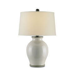 Table Lamp with White Shade in Feather Gray Finish
