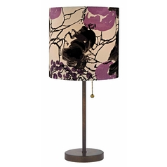 Bronze Pull-Chain Table Lamp Flower Print Drum Shade
