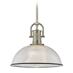 Industrial Prismatic Glass Pendant Light Black / Nickel 13.13-Inch Wide