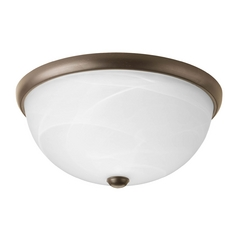 Progress Lighting Modern Flushmount Light with Alabaster Glass in Antique Bronze Finish P3624-20WB