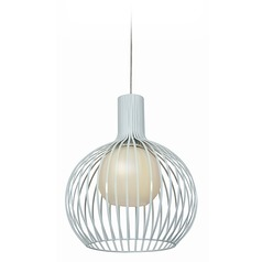 Access Lighting Chuki White Mini-Pendant Light with Globe Shade