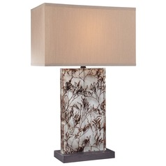 Minka Lavery Clear with grass Table Lamp with Rectangle Shade