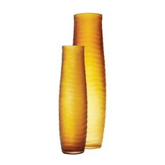 Umber Matte Cut Vases - Set Of 2